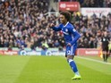 Willian celebrates scoring during the Premier League game between Stoke City and Chelsea on March 18, 2017
