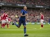 Jesse Lingard celebrates scoring during the Premier League game between Middlesbrough and Manchester United on March 19, 2017