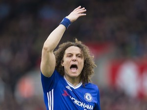 David Luiz shouts during the Premier League game between Stoke City and Chelsea on March 18, 2017