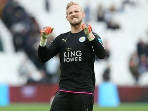An excited Kasper Schmeichel in action during the Premier League game between West Ham United and Leicester City on March 18, 2017