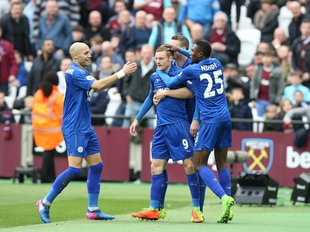 Jamie Vardy celebrates scoring during the Premier League game between West Ham United and Leicester City on March 18, 2017