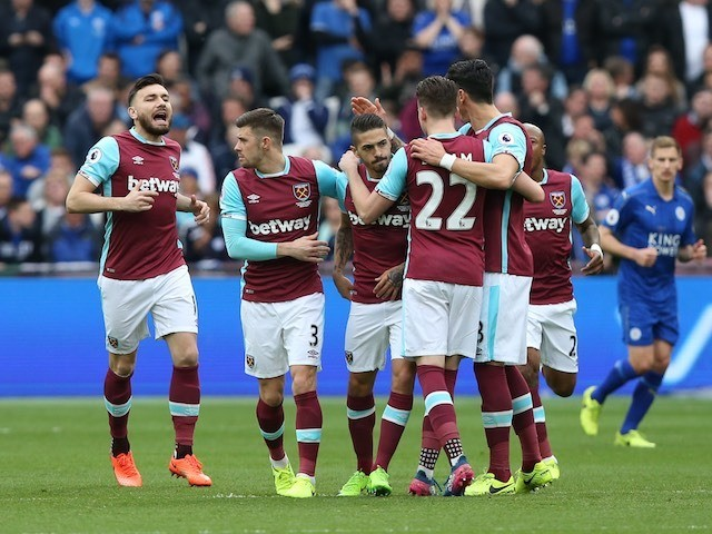 Manuel Lanzini celebrates scoring with teammates during the Premier League game between West Ham United and Leicester City on March 18, 2017