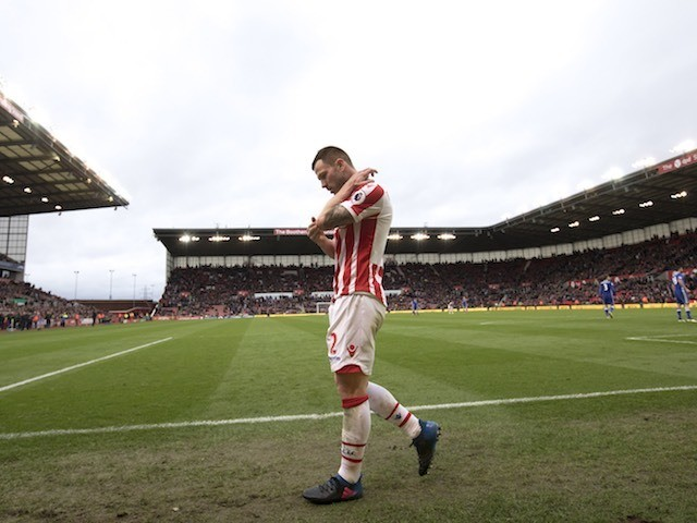 Phil Bardsley sees red during the Premier League game between Stoke City and Chelsea on March 18, 2017