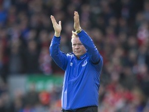 For some reason Ronald Koeman applauds after the Premier League game between Liverpool and Everton on April 1, 2017