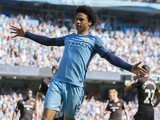 Leroy Sane celebrates after Ahmed Elmohamady's own goal during the Premier League game between Manchester City and Hull City on April 8, 2017