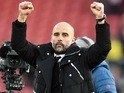 Pep Guardiola celebrates after the Premier League game between Southampton and Manchester City on April 15, 2017`