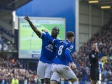 Romelu Lukaku celebrates with Ross Barkley after scoring during the Premier League game between Everton and Burnley on April 15, 2017
