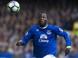 Romelu Lukaku in action during the Premier League game between Everton and Burnley on April 15, 2017