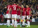 Henrikh Mkhitaryan celebrates with teammates after scoring during the Europa League game between Manchester United and Anderlecht on April 20, 2017