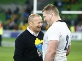 England's Eddie Jones and Dylan Hartley on June 18, 2016