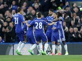 Eden Hazard celebrates with teammates after scoring during the Premier League game between Chelsea and Southampton on April 25, 2017