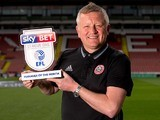 Sheffield United manager Chris Wilder poses with his League One manager of the month award for April 2017