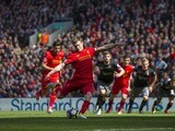 James Milner misses from the spot during the Premier League game between Liverpool and Southampton on May 7, 2017