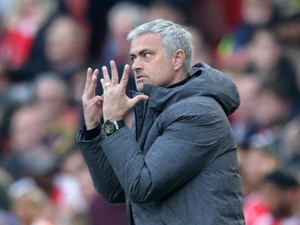 A maniacal Jose Mourinho tries to figure out how many matches his side have drawn at Old Trafford this season during the Premier League clash with Arsenal on May 7, 2017