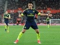 Alexis Sanchez celebrates scoring against Southampton in the Premier League on May 10, 2017