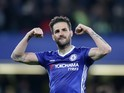 Cesc Fabregas celebrates after the Premier League game between Chelsea and Middlesbrough on May 8, 2017
