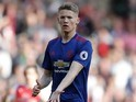 Scott McTominay in action during the Premier League game between Arsenal and Manchester United on May 7, 2017