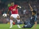 Manchester United's Antonio Valencia and Celta Vigo's Gustavo Cabral on May 11, 2017