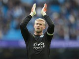 Kasper Schmeichel applauds after the Premier League game between Manchester City and Leicester City on May 13, 2017