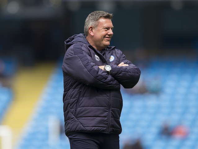 Craig Shakespeare smiles during the warm-up prior to the Premier League game between Manchester City and Leicester City