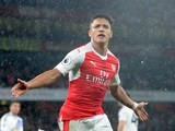 Alexis Sanchez, aka Alexis, celebrates scoring the second during the Premier League game between Arsenal and Sunderland on May 16, 2017