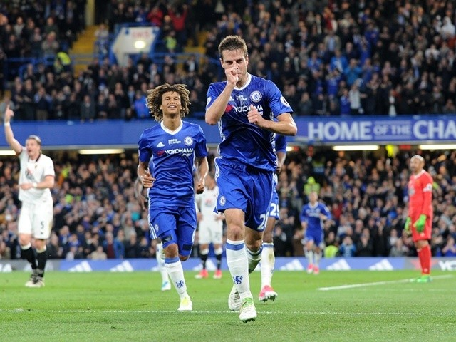Chelsea's Cesar Azpilicueta celebrates scoring his side's second goal against Watford on May 15, 2017