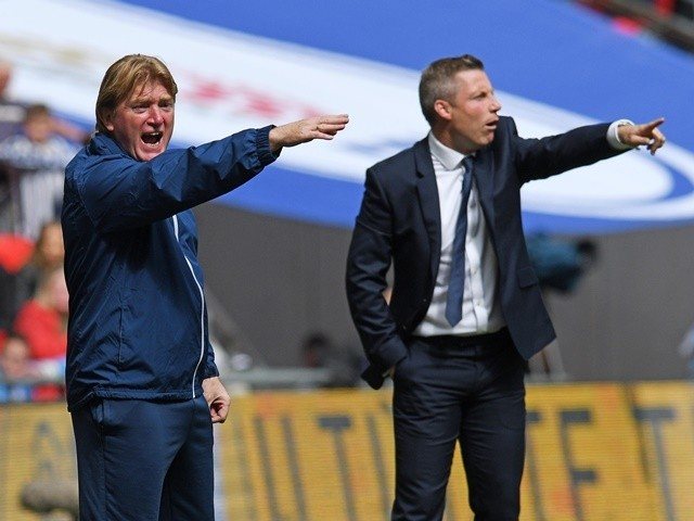 Managers Neil Harris and Stuart McCall during the League One playoff final between Bradford City and Millwall on May 20, 2017