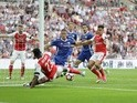 Danny Welbeck makes a close-range attempt during the FA Cup final between Arsenal and Chelsea on May 27, 2017