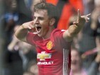 Josh Harrop celebrates scoring during the Premier League game between Manchester United and Crystal Palace on May 21, 2017