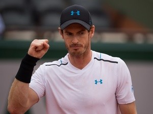 Andy Murray celebrates during his match against Juan Martin del Potro at the French Open in June 3, 2017