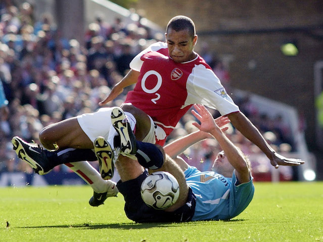 Gilberto Silva in action for Arsenal in 2002