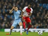 Thomas Lemar and Jesus Navas during the Champions League match between AS Monaco and Manchester City on February 21, 2017