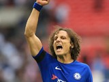 David Luiz celebrates during the Premier League game between Tottenham Hotspur and Chelsea on August 20, 2017