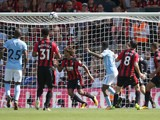 Raheem Sterling nets a last-minute winner during the Premier League game between Bournemouth and Manchester City on August 26, 2017