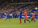 Thomas Lemar scores a long-range goal during the World Cup qualifier between France and the Netherlands on August 31, 2017