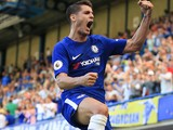 Alvaro Morata celebrates scoring during the Premier League game between Chelsea and Everton on August 27, 2017