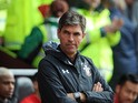 Mauricio Pellegrino observes the action during the Premier League game between Southampton and Watford on September 9, 2017