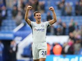 Cesar Azpilicueta celebrates after the Premier League game between Leicester City and Chelsea on September 9, 2017