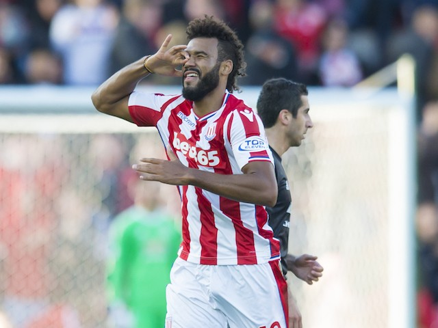 Eric Maxim Choupo-Moting celebrates opening the scoring during the Premier League game between Stoke City and Manchester United on September 9, 2017