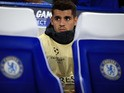 Alvaro Morata watches on from the bench during the Champions League game between Chelsea and Qarabag on September 12, 2017